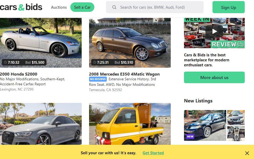 car and bids