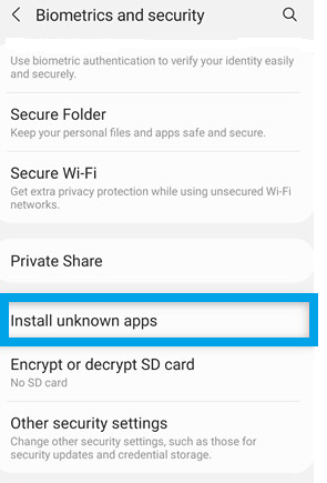 How to enable the APK install on Samsung Galaxy devices